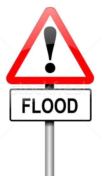 Stock photo: Flood warning sign.