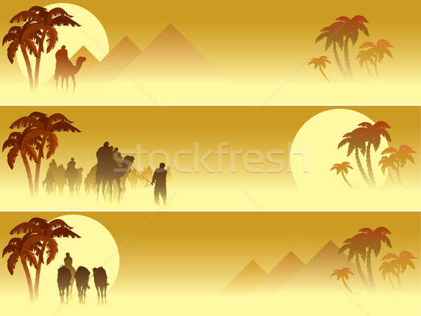 Set of three web banners: Camel caravan going through the desert