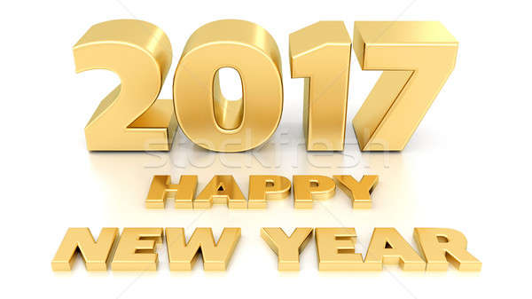 Stock photo: Happy New Year 2017. Isolated 3D design template on white backgr