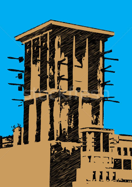 Stock photo: dubai wind tower illustration scribble