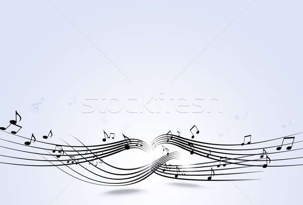 abstract music notes and blurry lights on bright background