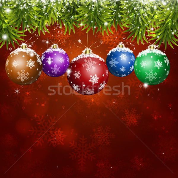 red Christmas fir-tree and balls background for NY and Christmas greeting cards