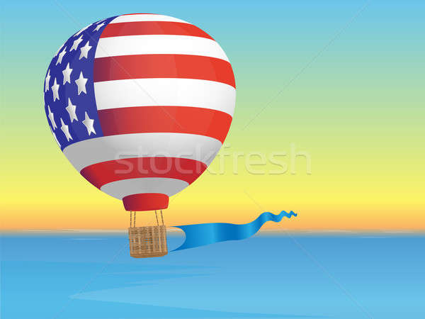 Stock photo: Balloon and sea landscape