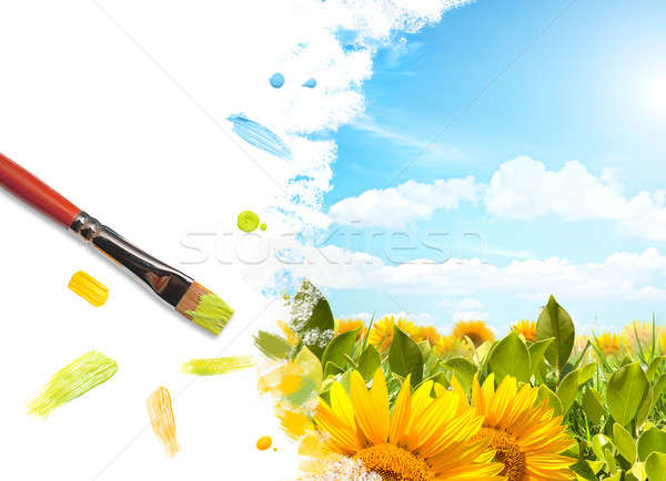 Painting colored landscape with sunflower
