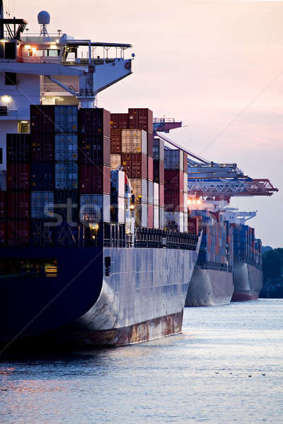 Stock photo: container ships docked in port