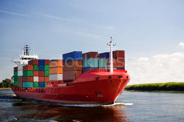 Stock photo: cargo container ship on river