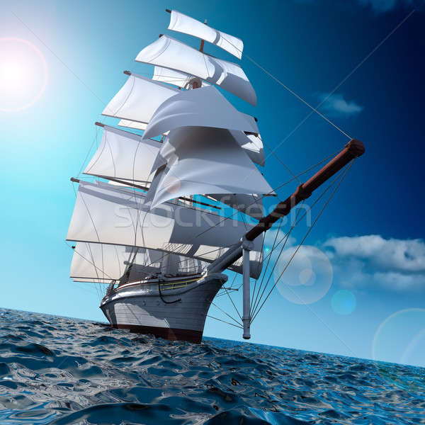 Stock photo: Sailing ship at sea