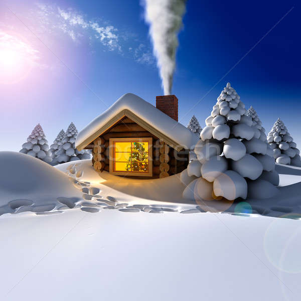 Stock photo: A small wooden house in a fantastic snow forest on the eve of Ne
