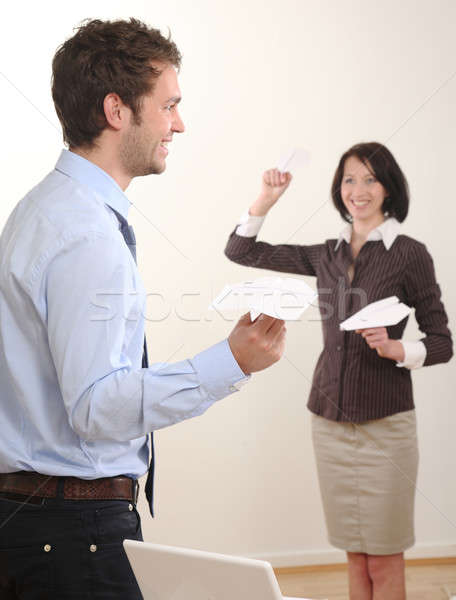 Stock photo: Business man and WOman have fun in Office