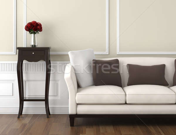 Stock photo: beige and white classic interior