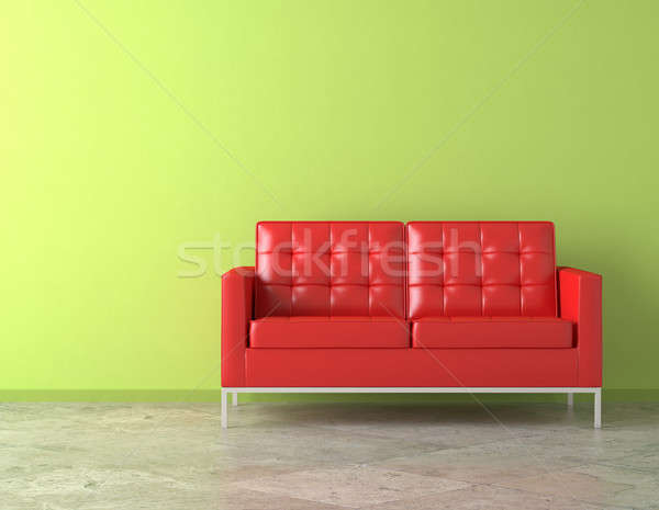 Stock photo: red couch on green wall