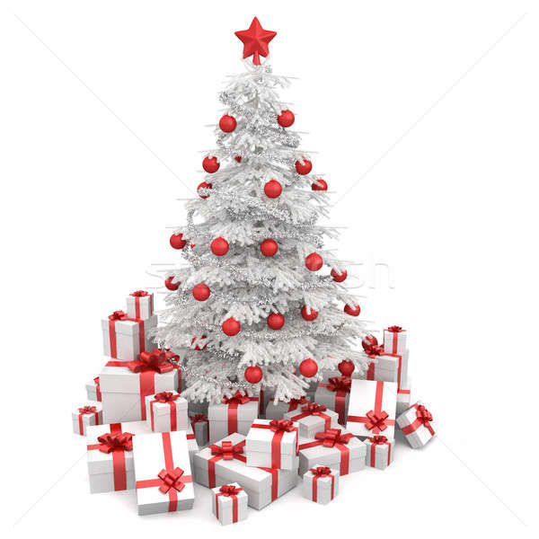 white and red isoloated christmas tree stock photo © pablo ...