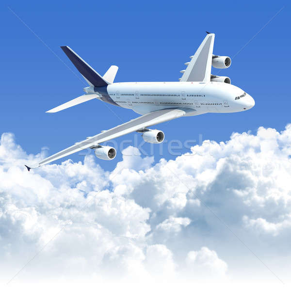 Stock photo: airplane flying over the clouds
