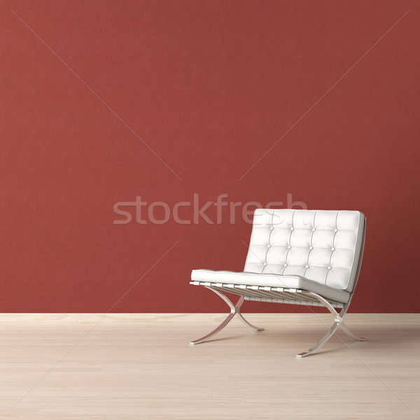 Stock photo: White chair on red wall