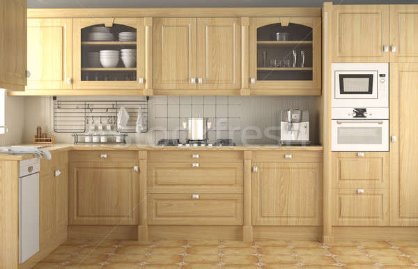 Classic Interior Design on Stock Photo  Interior Design Of Wood Classic Kitchen In Neutral Colors