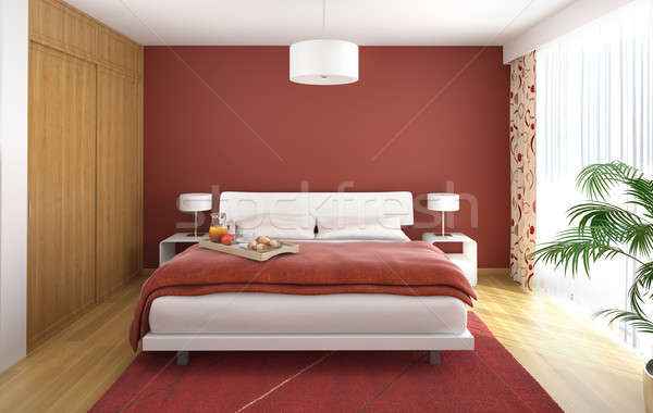 Stock photo: interior design of modern bedroom in red w