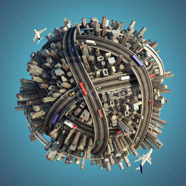 Stock photo: Miniature chaotic urban planet isolated