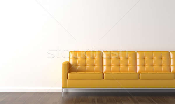 interior design of yellow couch on a white wall with copy space on the left