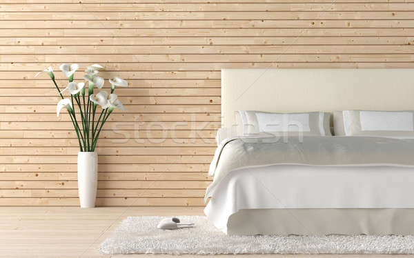 Stock photo: wooden bedroom with calla lilly