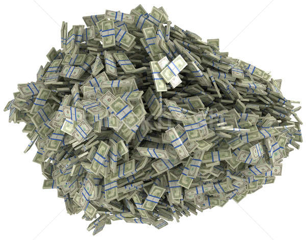 Money and wealth. Heap of US dollar bundles. Isolated over white.