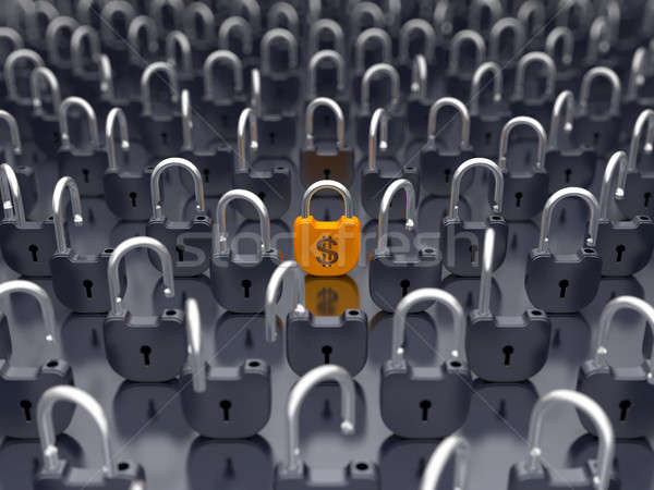 Stock photo: Money and currency security - locked padlock