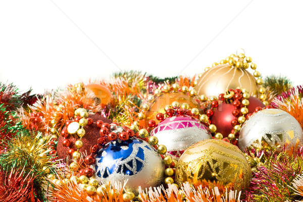 Stock photo: Beautiful Christmas decoration balls and colorful tinsel