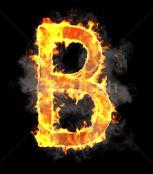 Stock photo: Burning and flame font B letter
