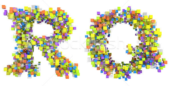 Stock photo: Abstract cubic font R and Q letters