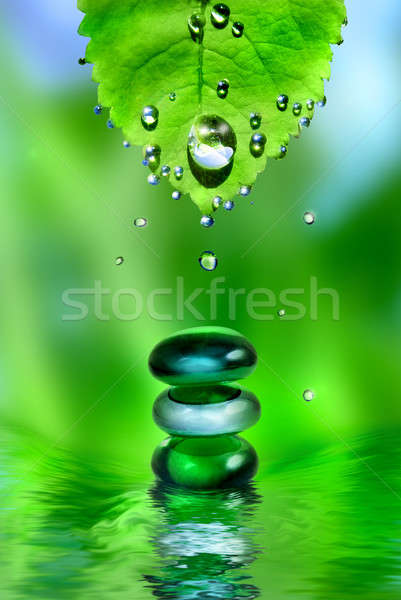 Stock photo: balancing spa shiny stones with leaf and water drops on green background