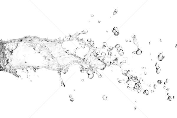 Stock photo: water splash with bubbles isolated on white