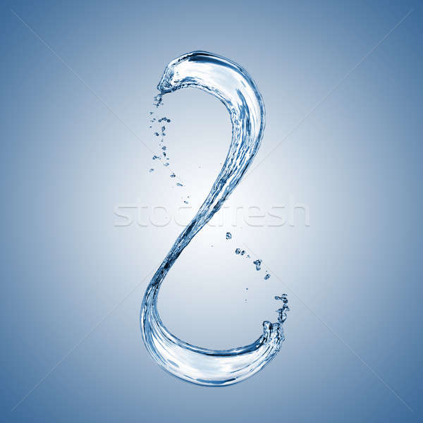 water splash in shape of number 8 on blue background