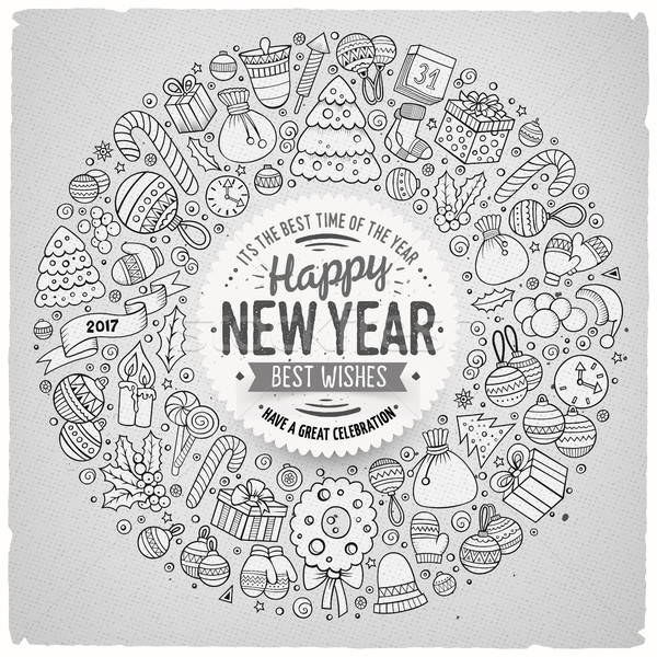 Stock photo: Set of New Year cartoon doodle objects round frame