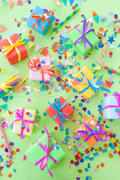 Colorful little gift boxes and party props