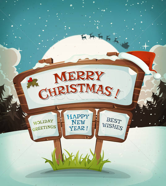 Illustration of a cartoon christmas holidays background on wood sign and santa character driving sleigh in the moon light