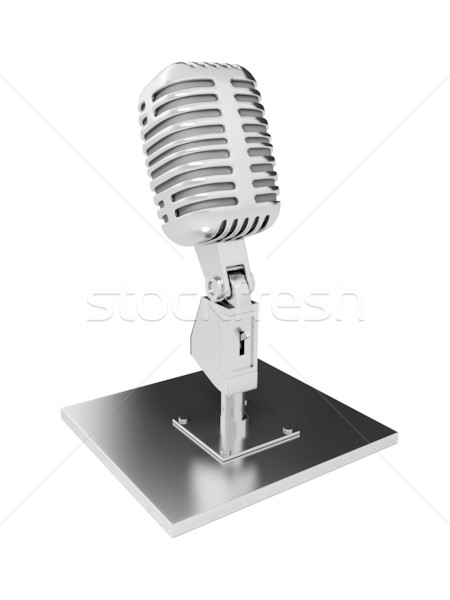 Stock photo: Retro metal microphone over white