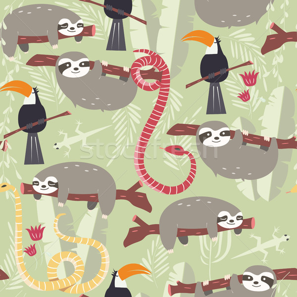 Stock photo: Seamless pattern with cute rain forest animals, toucan, snake, sloth