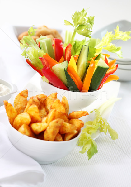 Stock photo: Vegetable snack and wedges with dip