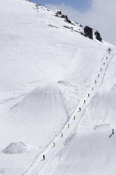 Stock photo: Big Air. Snowboard park at ski resort.