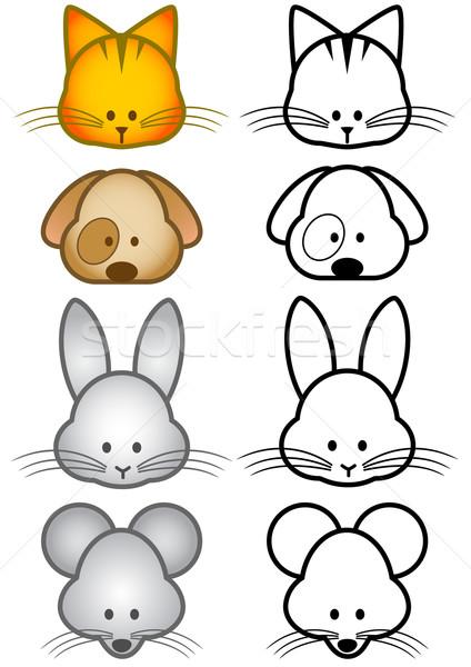 291371 vector illustration set of cartoon pet animals by bytedust