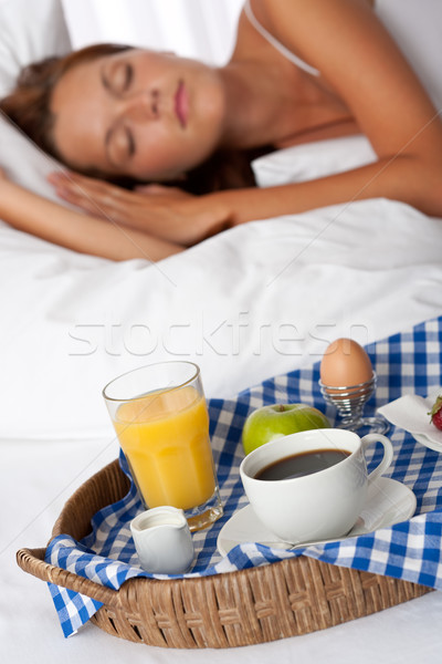 Stock photo: Young woman having home made breakfast