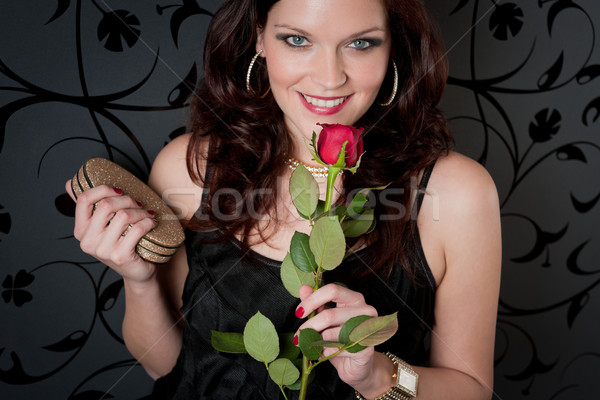 Stock photo: Cocktail party woman evening dress rose
