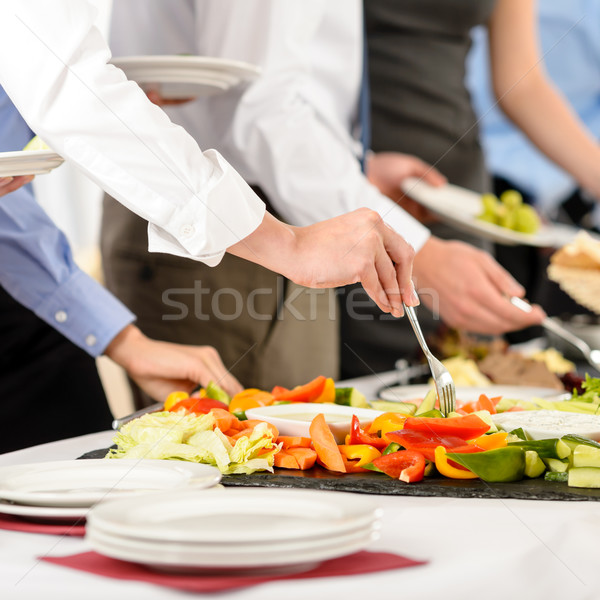 Stock photo: Business catering people take buffet food