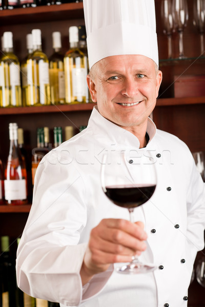 Stock photo: Chef cook wine bar hold glass restaurant