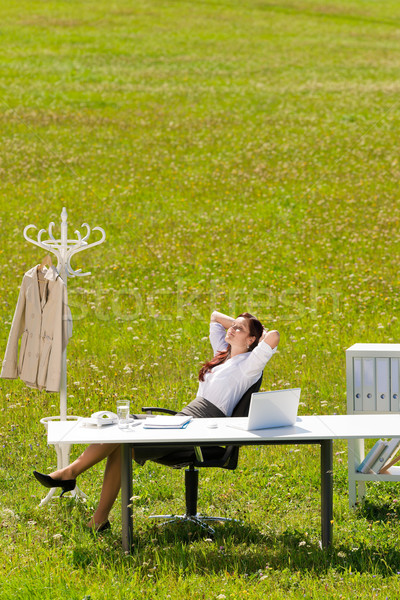 Stock photo: Businesswoman in sunny meadow relax nature office