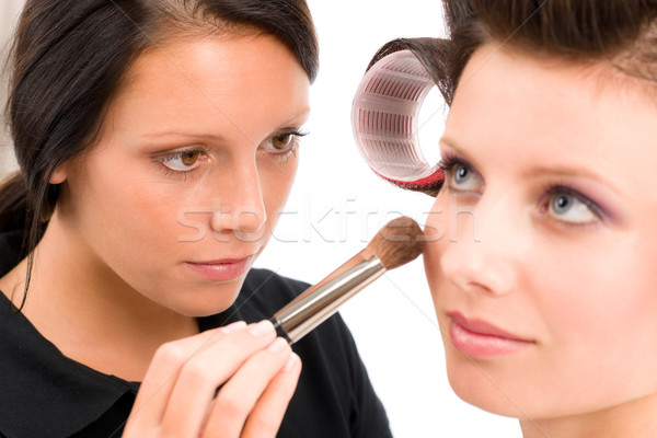 Stock photo: Make-up artist woman fashion model apply powder
