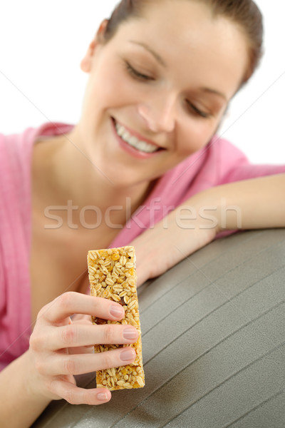 Stock photo: Fitness woman eat granola sportive outfit happy