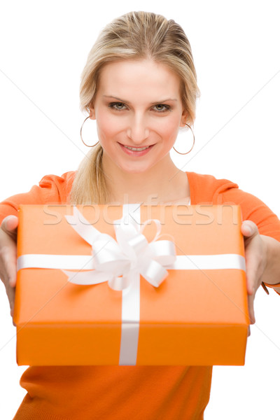 Stock photo: Present woman celebration hold happy
