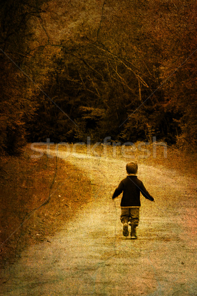 Stock photo: Alone in forest - vintage picture of a young child