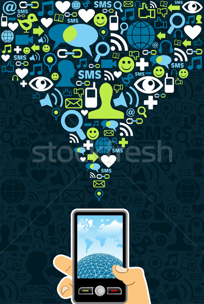 Stock photo: Social media cell phone connection