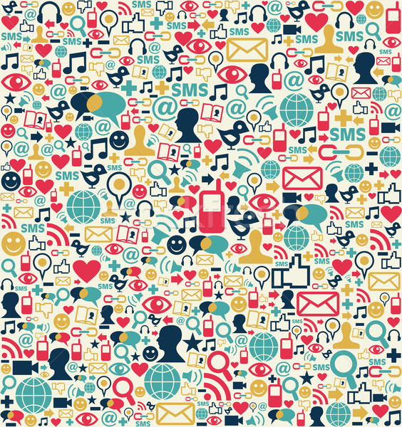 Stock photo: Social media network icons pattern